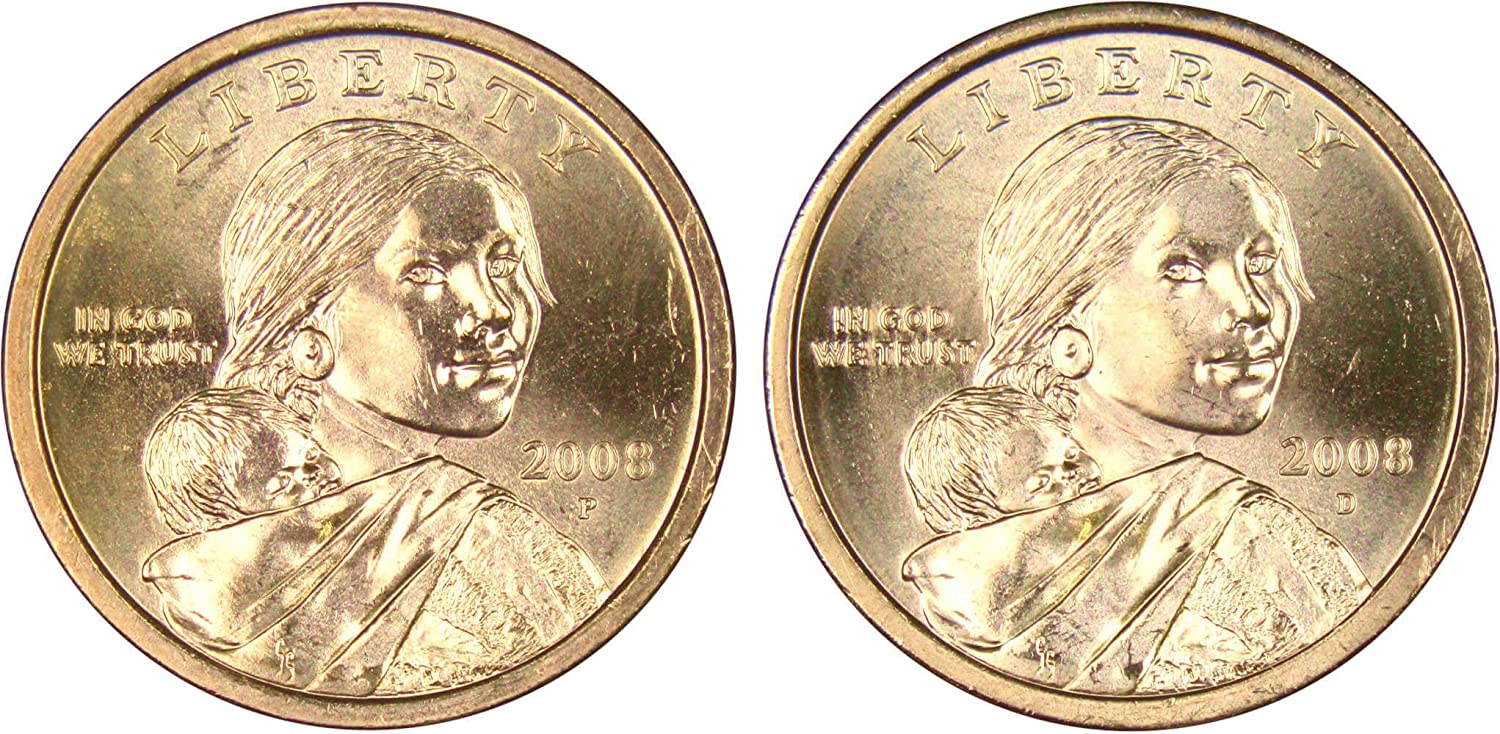 2 Coins Native American//Sacagawea US One Dollars 2016- P/&D BU Mint State
