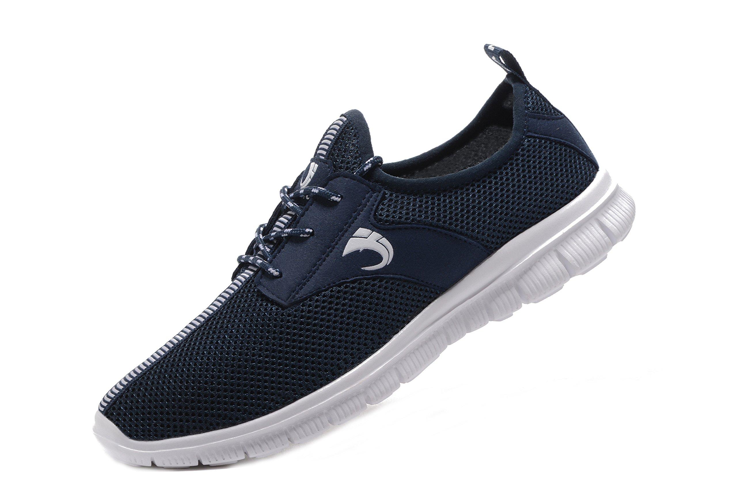 FANIC Men's Walking Shoes Workout Shoes Full Mesh Running Shoes Lightweight Comfortable Fitness Breathable Casual Sneaker (9.5US/43EU,Men, Blue)¡