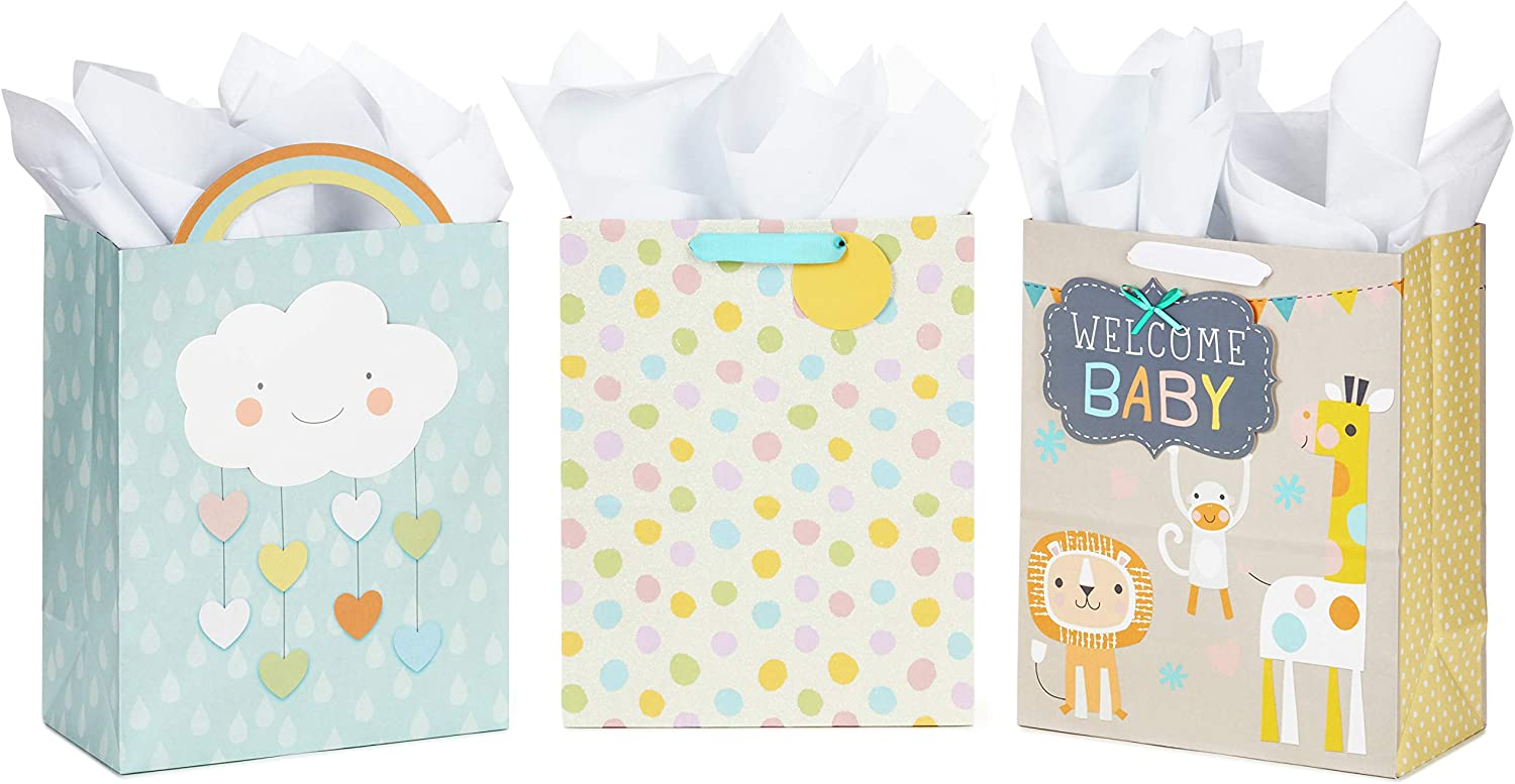 "Hallmark 13"" Large Baby Shower Gift Bags Assortment with Tissue Paper (Pack of 3, Cloud and Rainbow, Giraffe, Pastel Polka Dots)"