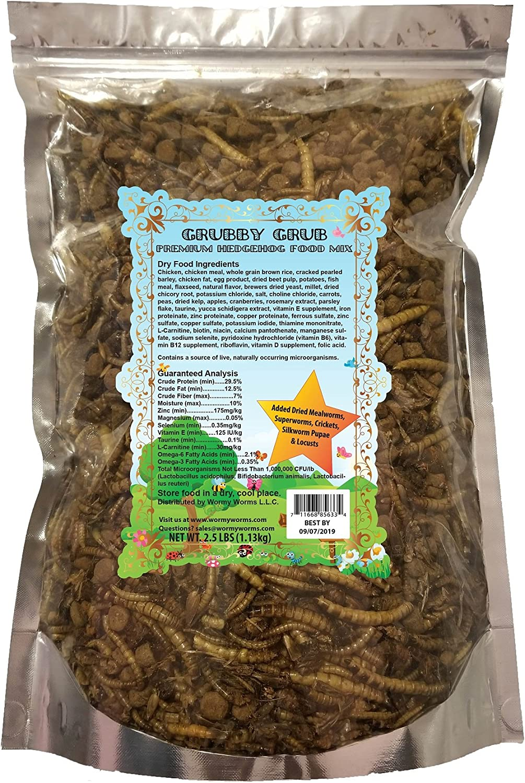 Premium Hedgehog Food w/Dried Mealworms Superworms Crickets Silkworm Pupae Locusts (2.5 LBS)