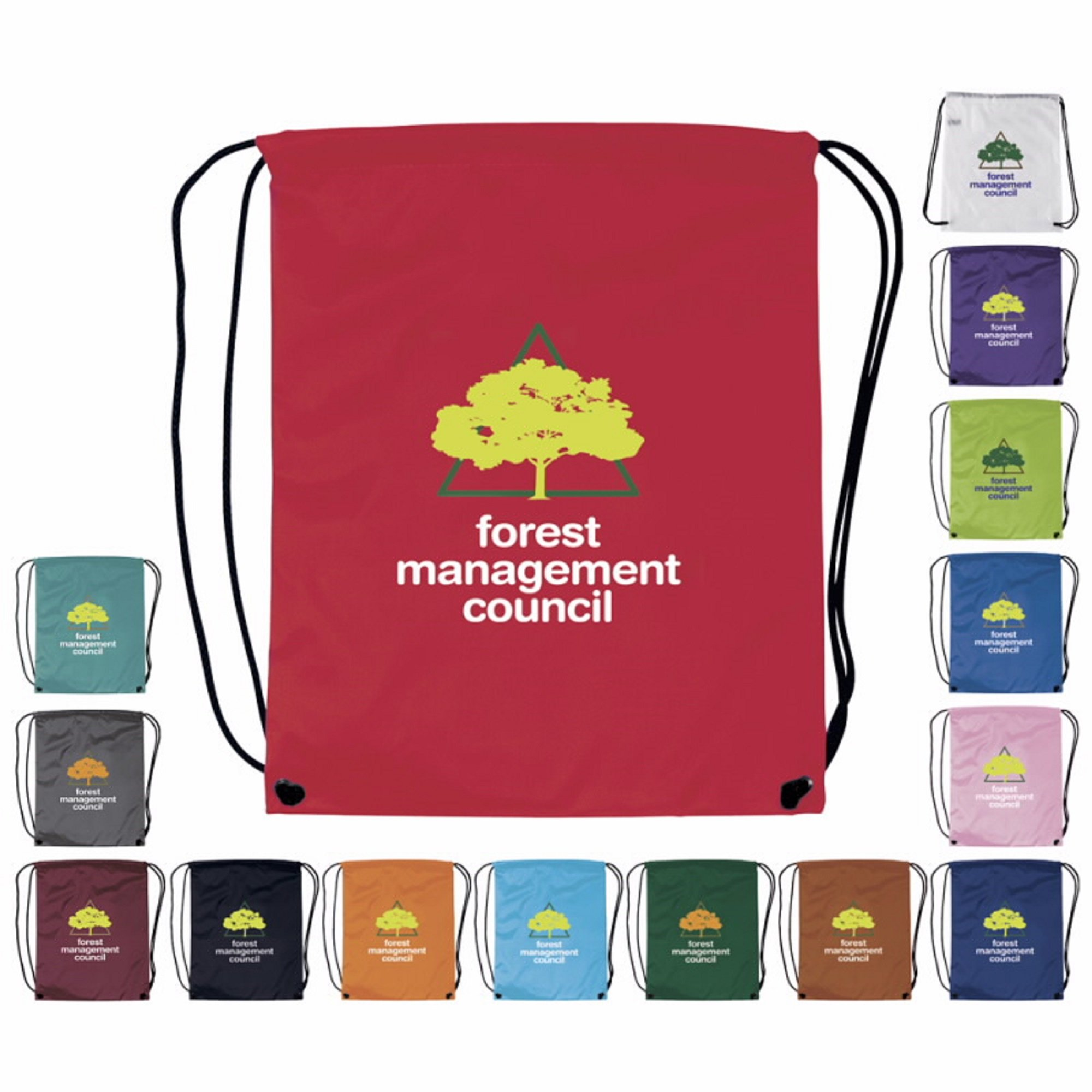 100 Promotional Drawstring Backpack Printed with your Logo or Message