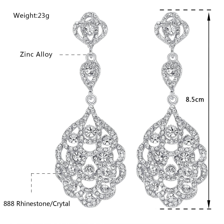 58e6497d2 Amazon.com: mecresh Wedding Teardrop Dangle Earrings Crystal Rhinestone  Beaded Chandelier Earrings for Brides Silver: Jewelry