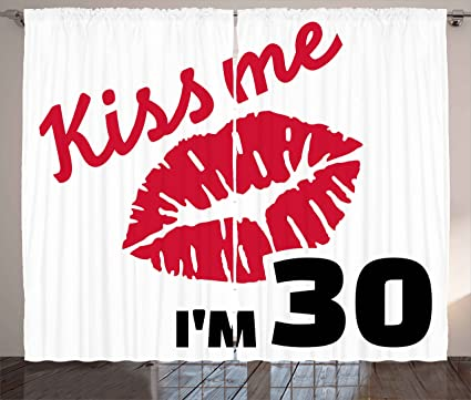 Amazoncom Ambesonne 30th Birthday Decorations Curtains Kiss Me I