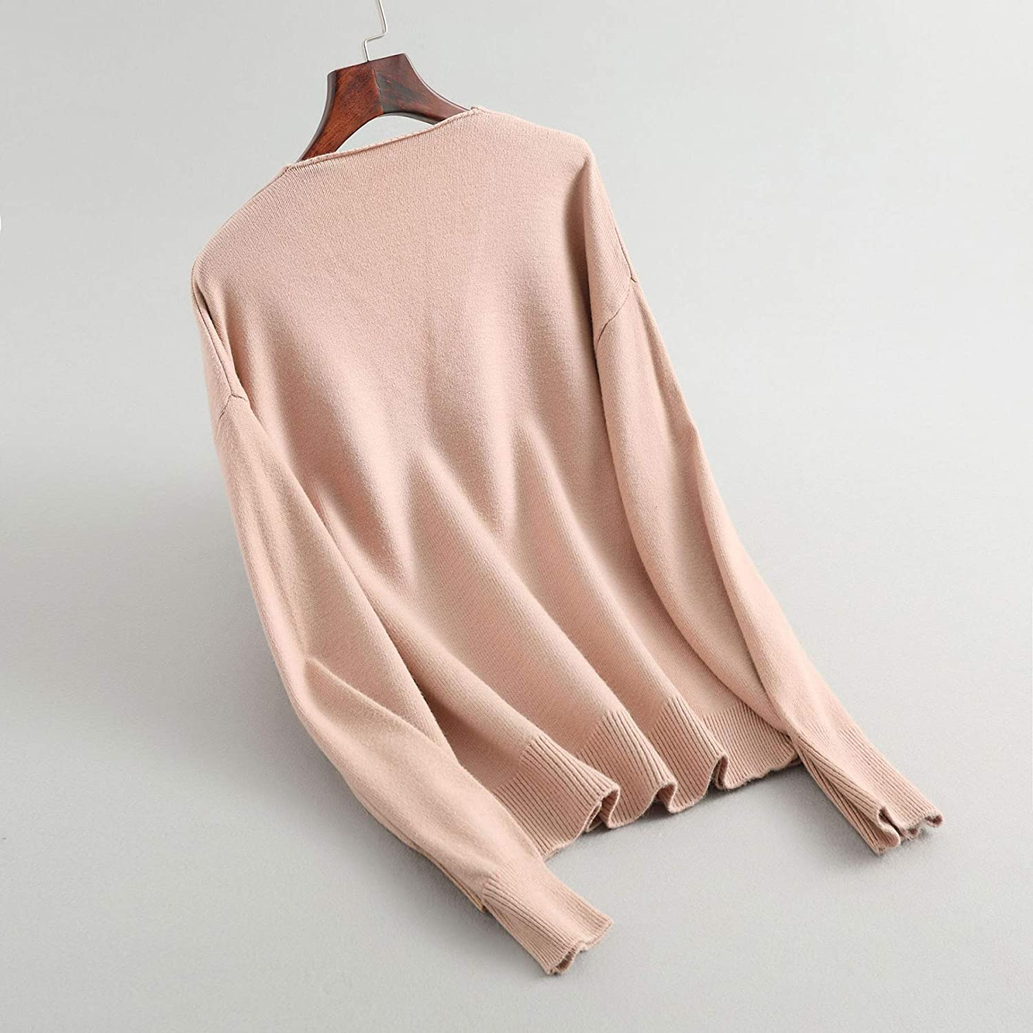 Yimoon Women/'s Loose V Neck Sweater Top Soft Solid Long Sleeve Knit Jumper