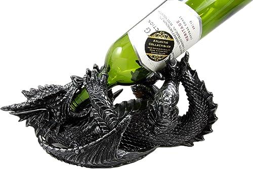 Atlantic Collectibles Black Saurian Armored Dragon Decorative Wine Holder Rack Figurine 12″ Long
