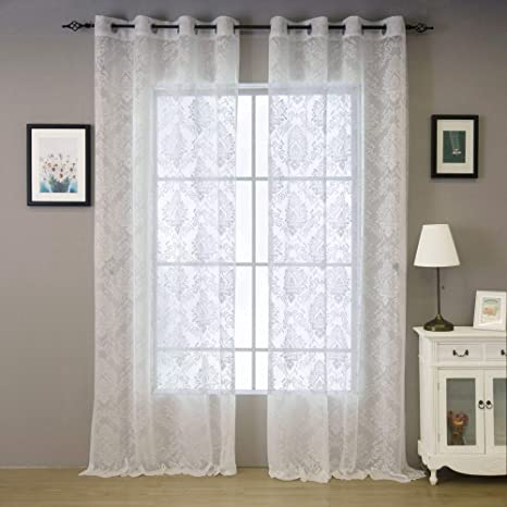 Amazon.com: Valea Home Lace Sheer Curtains Grommet Drapes for
