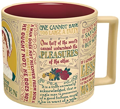 Jane Austen Coffee Mug - Austens Most Famous Quotes and Depictions - Comes in a Fun Gift Box