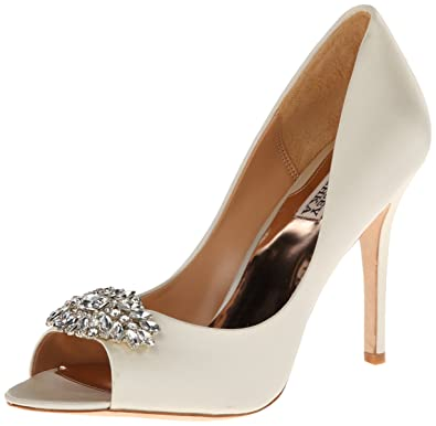 Badgley Mischka Women's Lavender II Dress Pump,Ivory Satin,9.5 ...