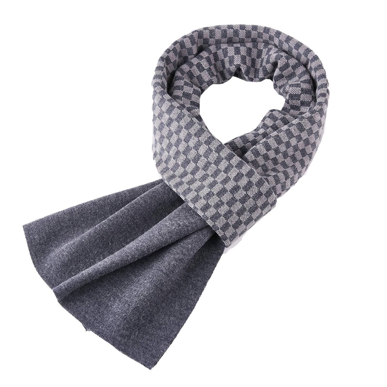 Taylormia Men's Winter Fashion Cashmere Knit Scarf Warm Soft Mixed-color Long Scarves Khaki