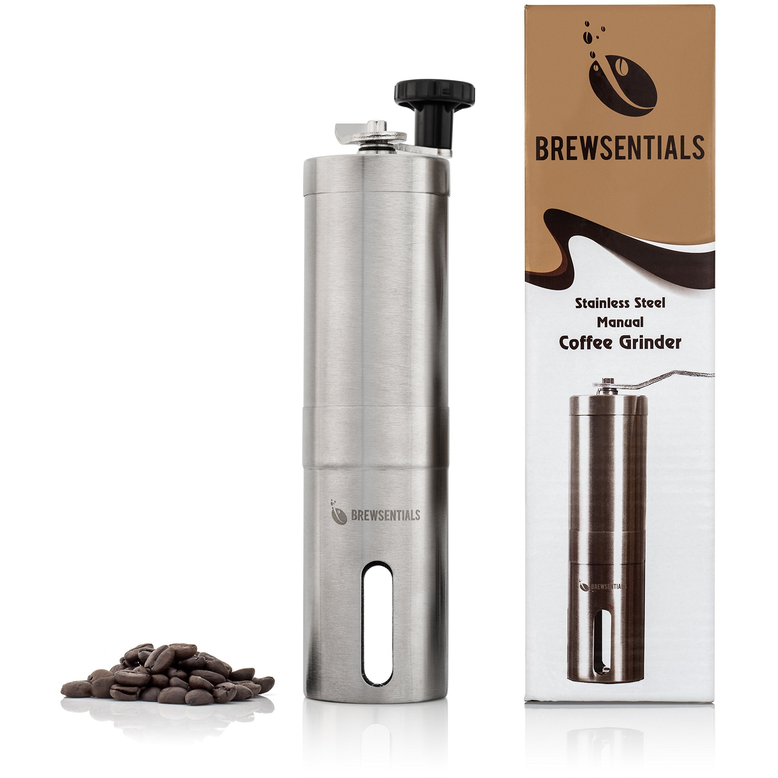 Brewsentials Premium Manual Coffee Grinder, Brushed Stainless Steel Personal Coffee Mill Adjustable Precision Conical Burr Brewing Essentials for Java Lovers