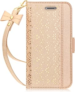 "WWW iPhone Xs (5.8"") 2018/iPhone X/10 2017 Case, [Luxurious Laser Flower] Wallet Folio Leather Case with [ Makeup Mirror] and [Kickstand Feature] for iPhone Xs (5.8"") 2018/iPhone X/10 2017 Gold"
