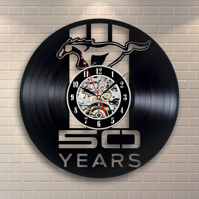 Mustang Decor Vinyl Record Clock Home Art Wall Design VinylEvolution VE746