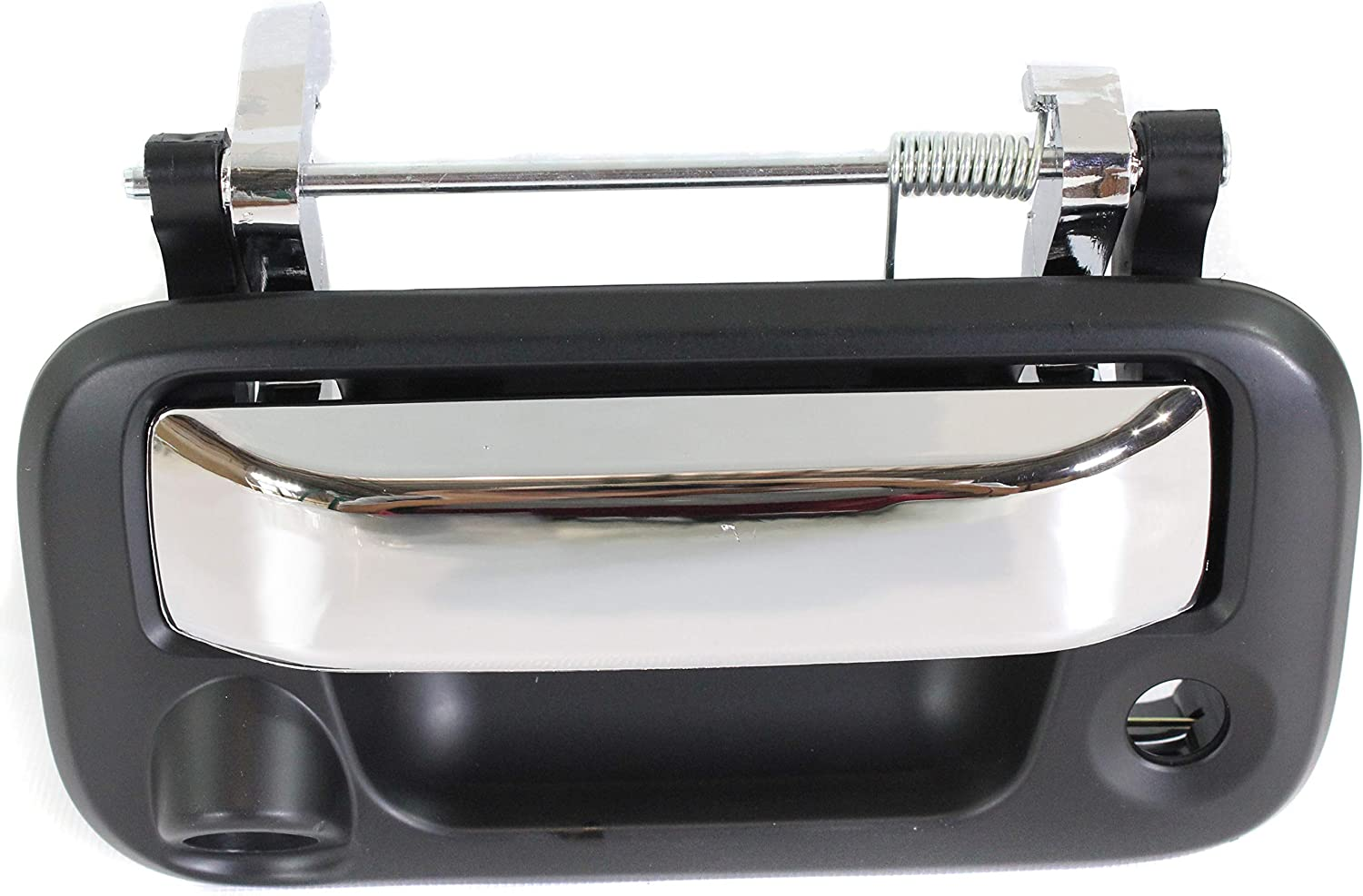 Chrome Lever+Primed Black Housing with Key Hole and Cable Tailgate Handle and Back Up Camera Compatible with 2008 Ford F-150 Outside