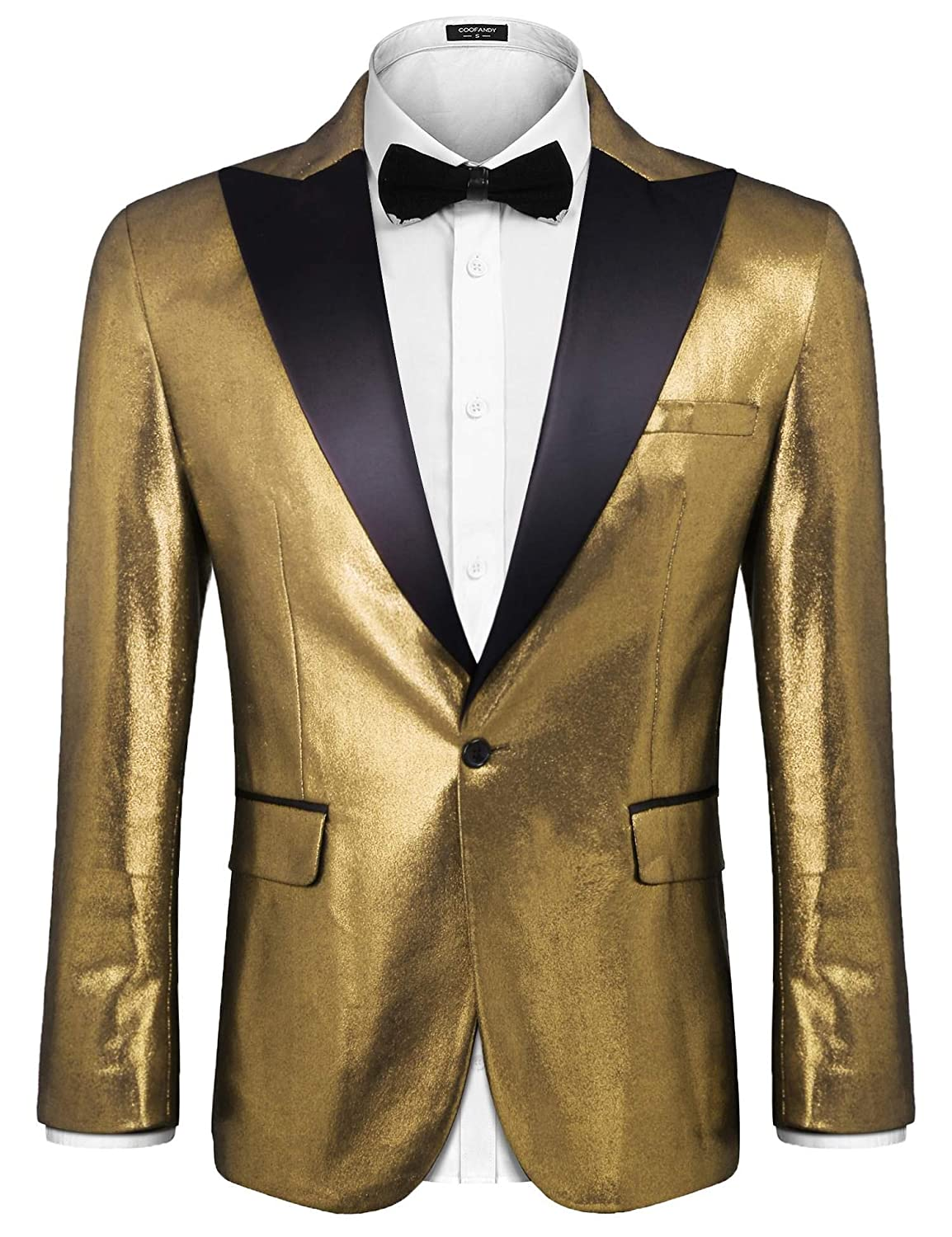 Coofandy Mens Suit Jacket Shiny One Button Tuxedo Slim Fit Blazer Coat for Dinner Wedding Party