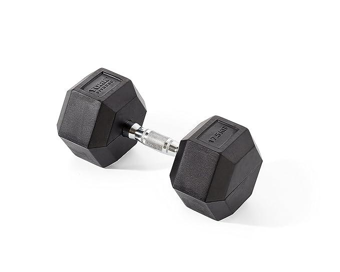 York Fitness, Pesas Hexagonales De Caucho, Negro, 1 X 20Kg: Amazon.es: Deportes y aire libre