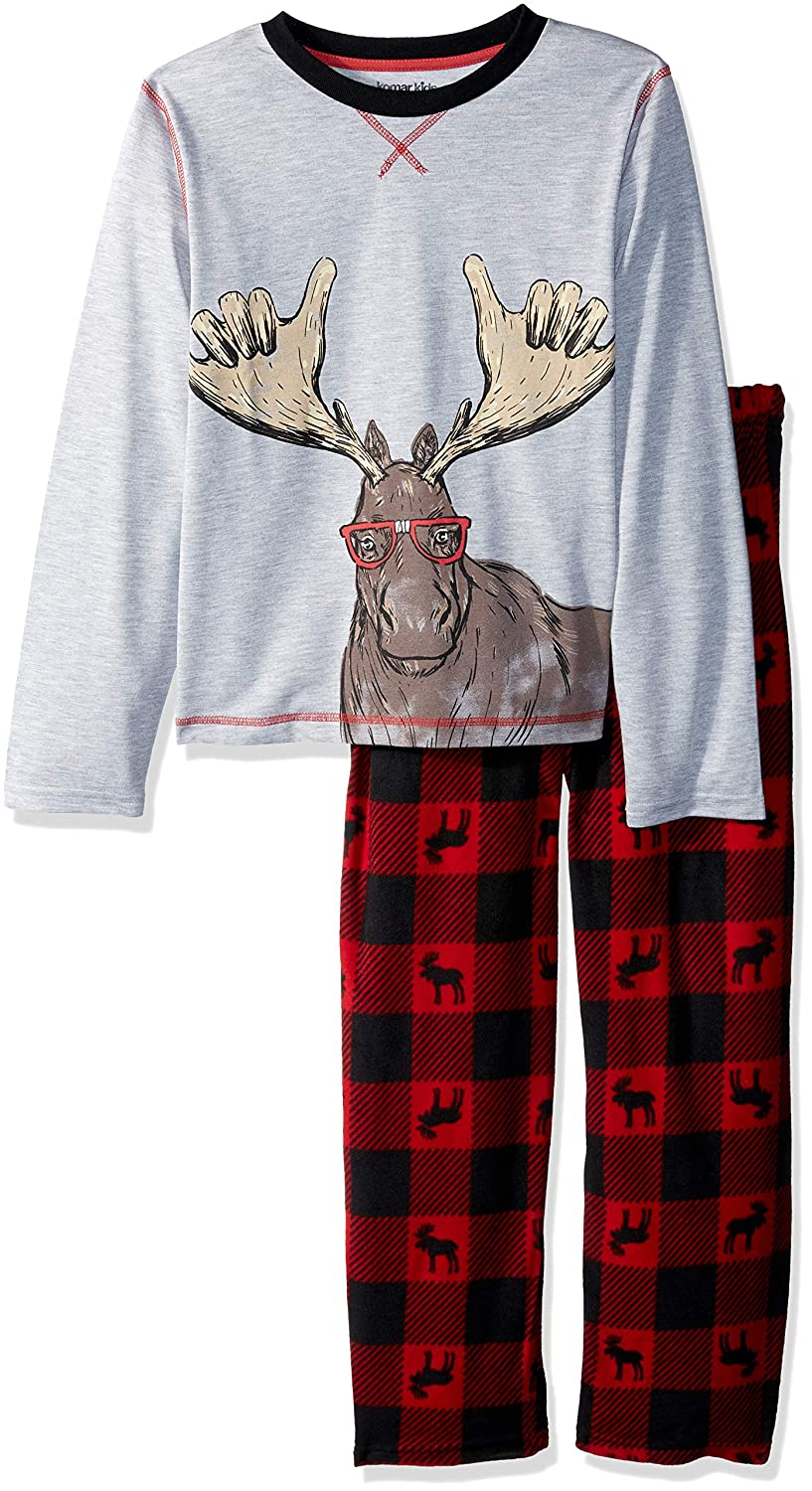 Komar Kids Boys Big Boys Moose Holiday Plaid Pajama Set K172960