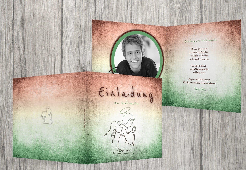 Kartenparadies Einladungskarte Einladungskarte Einladungskarte Konfirmation grunge Engel, hochwertige Einladung zur Konfirmationsfeier inklusive Umschläge   20 Karten - (Format  145x145 mm) Farbe  Türkisdunkel B01MZFQOIH | Creative  | Tragen-wider  | Die Farbe ist sehr auffä f536b7