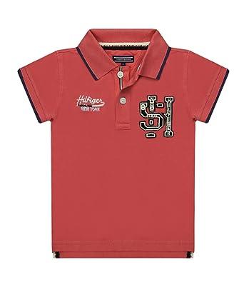 4095ca995b0 Tommy Hilfiger Boys Badge Polo Shirt Cayenne Red 12  Amazon.co.uk  Clothing