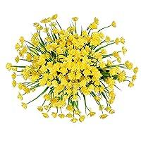 Zonlong Artificial Flowers, 4 Bundles Yellow Fake Flowers Plant, UV Resistant No...