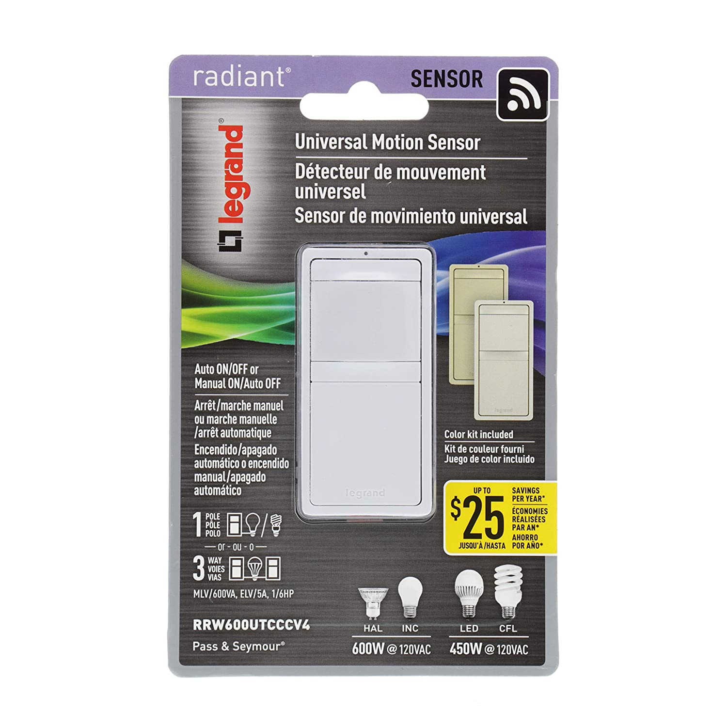 Legrand Pass Seymour Radiant Rrw600utcccv4 Single Pole 3 Way Wiring A Three Switch With Ceiling Fan Light Occupancy Sensor Tri Color Includes Interchangeable Face Covers White Ivory