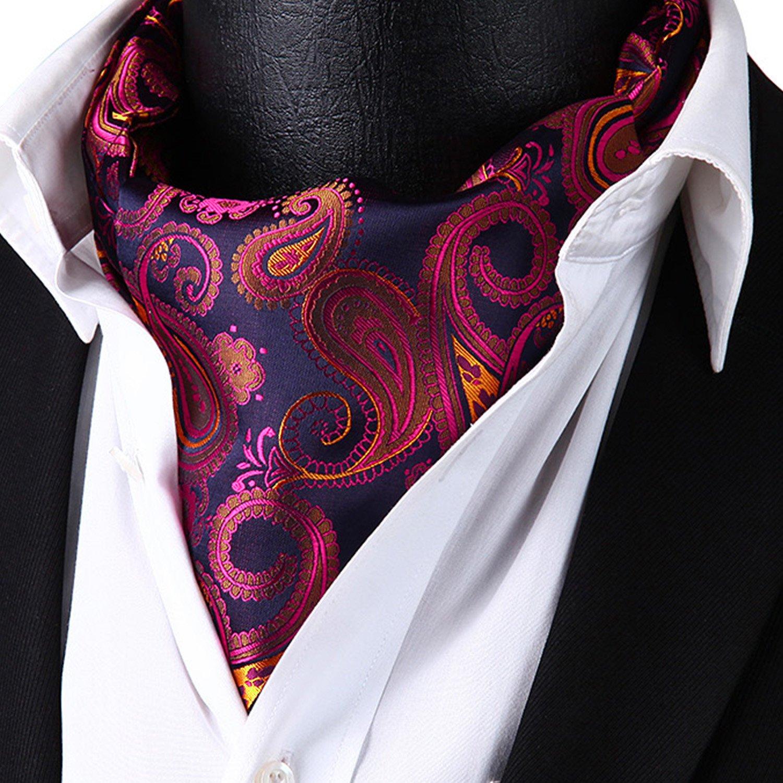 HISDERN Men's Ascot Paisley Floral Jacquard Woven Gift Cravat Tie and Pocket Square Set Pink by HISDERN (Image #3)