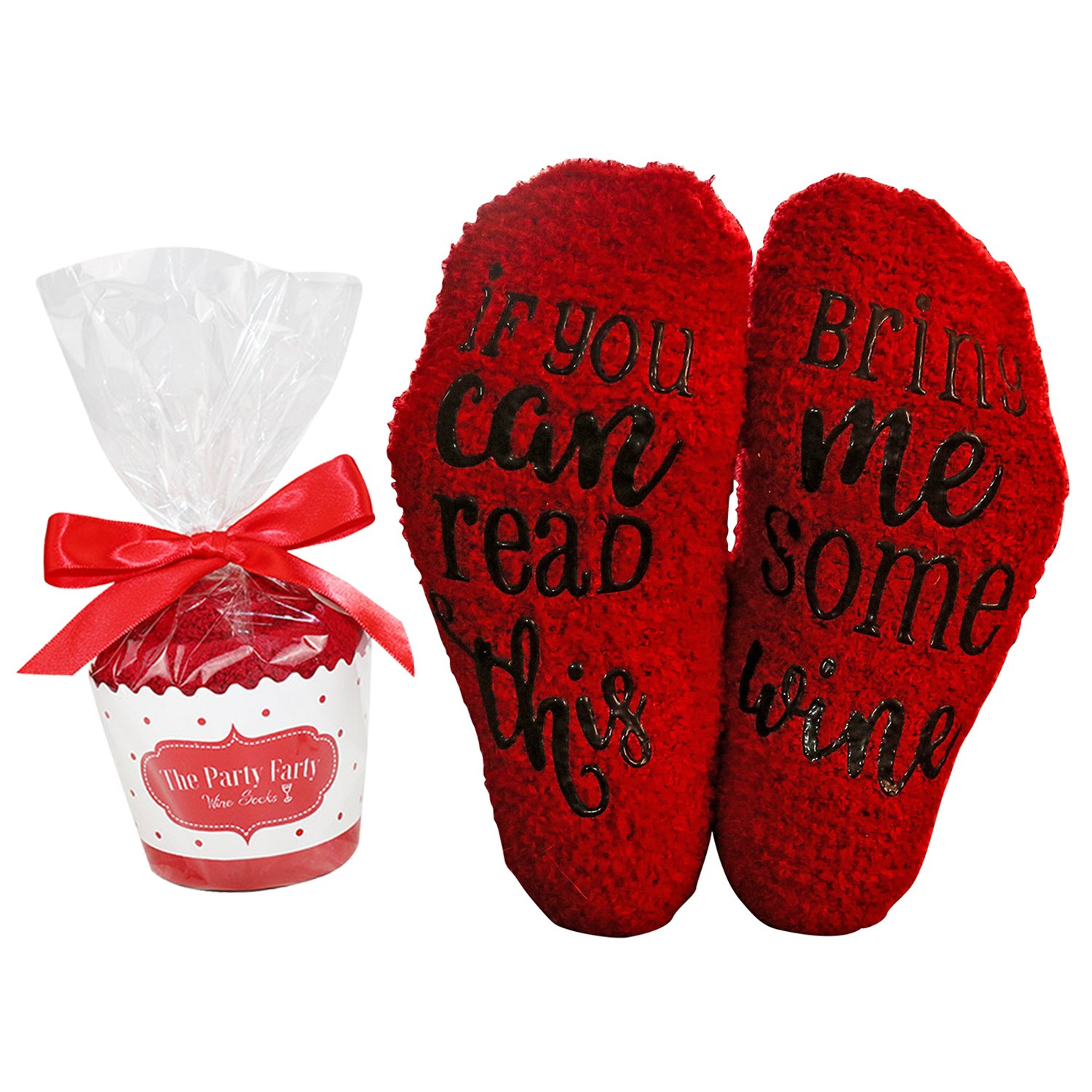 Wine Socks Red with Cupcake Gift Packaging: Wine lover Gifts for Women with If You Can Read This Bring Me Some Wine Luxury-Funny Wine Accessory for Her - Present for Wife and Women