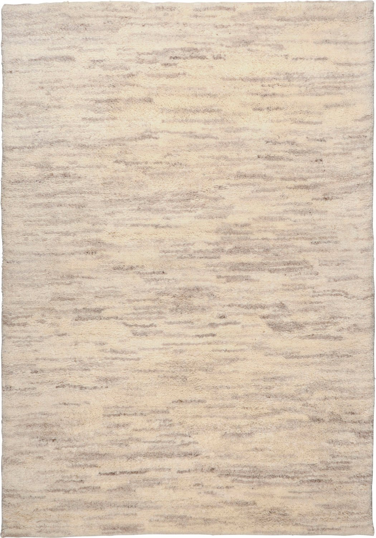 Berber Teppich Rashid 15 15 s - melange wollweiß grau, handgeknüpft aus reiner Schurwolle, Maß 200x300cm Rechteck