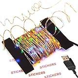 100 LED 10m Rame Stringa Striscia Lampada Fata Con Connettore USB, Luce Di Striscia Impermeabile Flessibile, Per La Decorazione Di Natale, Festa Di Compleanno, Matrimonio, Giardini, Cucina, Acquari, Auto, Barche, Multicolore