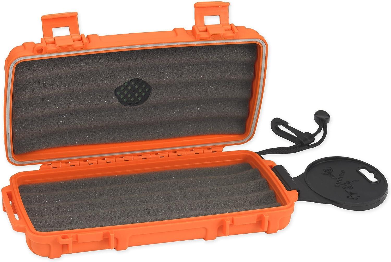Cigar Caddy 3400-R Blaze 5 Cigar Waterproof Travel Humidor Blaze Orange Rubberized Exterior