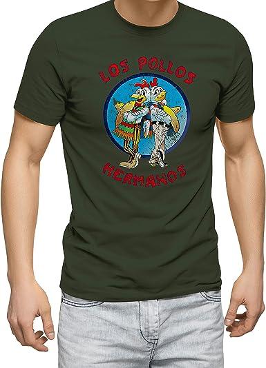 Breaking Bad Los Pollos Hermanos Vintage Retro Verde Militar Camiseta para Hombre: Amazon.es: Ropa y accesorios
