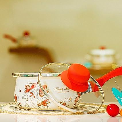 XiangYan Esmalte bebé leche olla alimentos mini, pequeña sopa olla fideos pan, cocina de