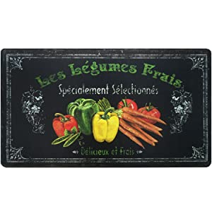 "Home Dynamix Cook N Comfort Les Legumes Kitchen Mat-CNC48, 19.6""x35.4"" Black/Red/Yellow/Green"