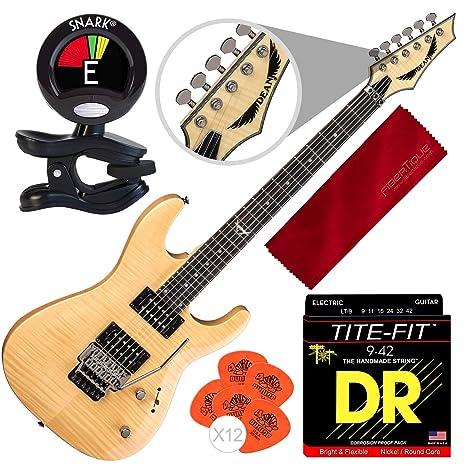 Dean Custom 350 Floyd guitarra eléctrica con puente Floyd Rose, brillo natural con afinador de