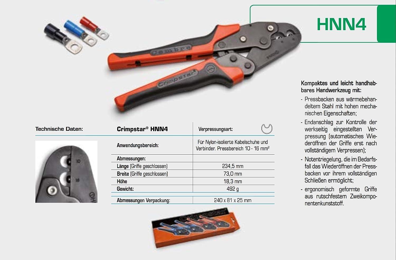 Mechanische Cembre Crimpzange HNN4 f/ür Nylon isolierte Kabelschuhe 10-16mm/² I Industriequalit/ät