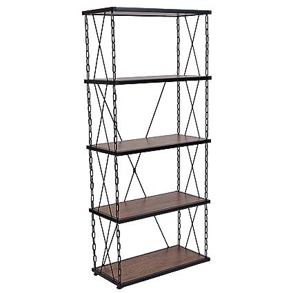 Gentil Flash Furniture Vernon Hills Collection Antique Wood Grain Finish Four  Shelf Bookshelf With Chain Accent Metal