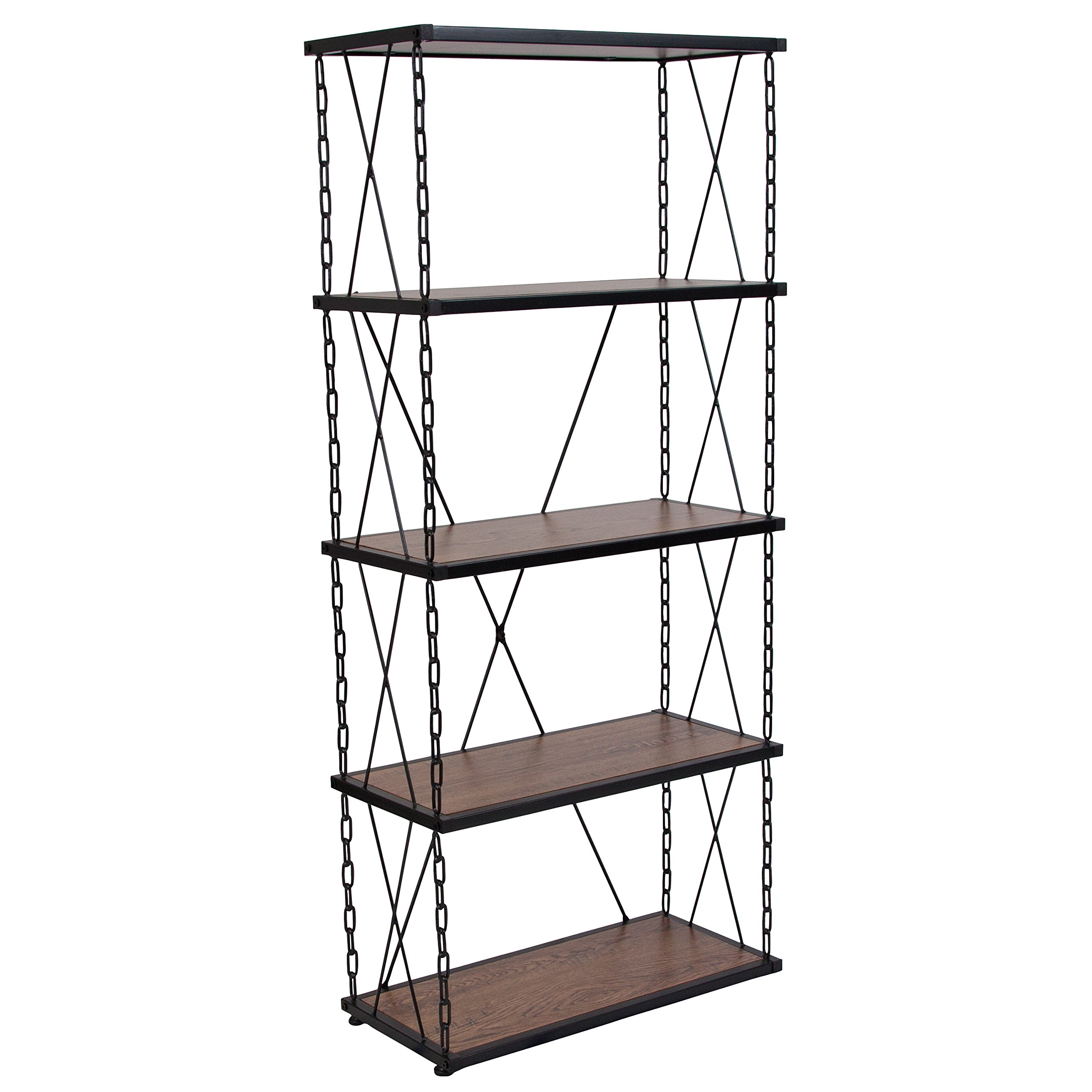 Flash Furniture Vernon Hills Collection Antique Wood Grain Finish Four Shelf Bookshelf with Chain Accent Metal Frame