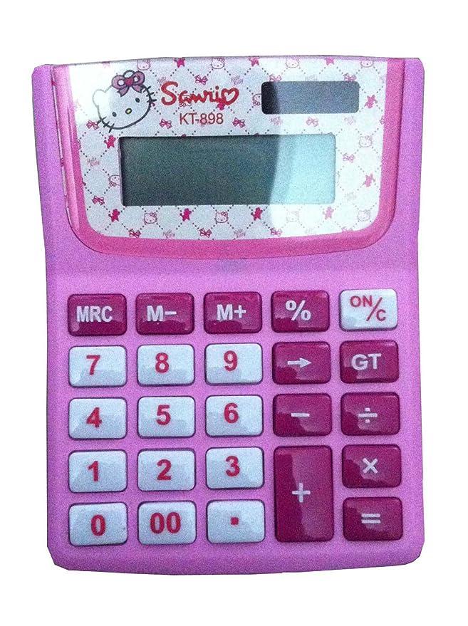 Rosa Hello Kitty Niñas Escuela calculadora electrónica niños deberes 12 dígitos calculadora científica Disney divertido regalo, material de oficina ...