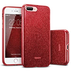 """ESR iPhone 8 Plus Case, iPhone 7 Plus Case,Glitter Sparkle Bling Case [Three Layer] for Girls Women [Supports Wireless Charging] for Apple 5.5"""" iPhone 8 Plus/7 Plus(Red)"""