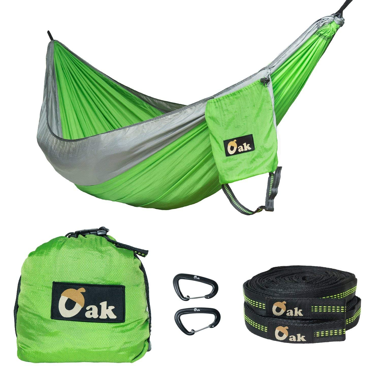 Gear Lab Store Oak – New Diamond Tech Ripstop Nylon Hammock, 2 XL Tree Straps 30 ft Total, Holds 2200 lbs , and 2 High Strength Aluminum Carabiners 5 kN