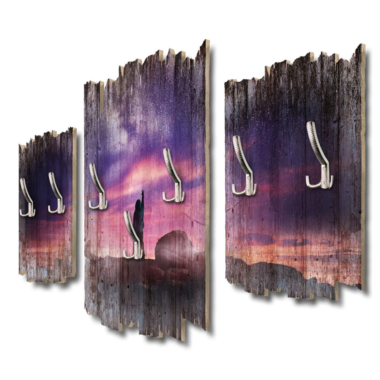 Kreative Feder Greife nach den Sternen Designer Wandgarderobe Flurgarderobe Wandpaneele 95 x 60 cm aus MDF DTGH059