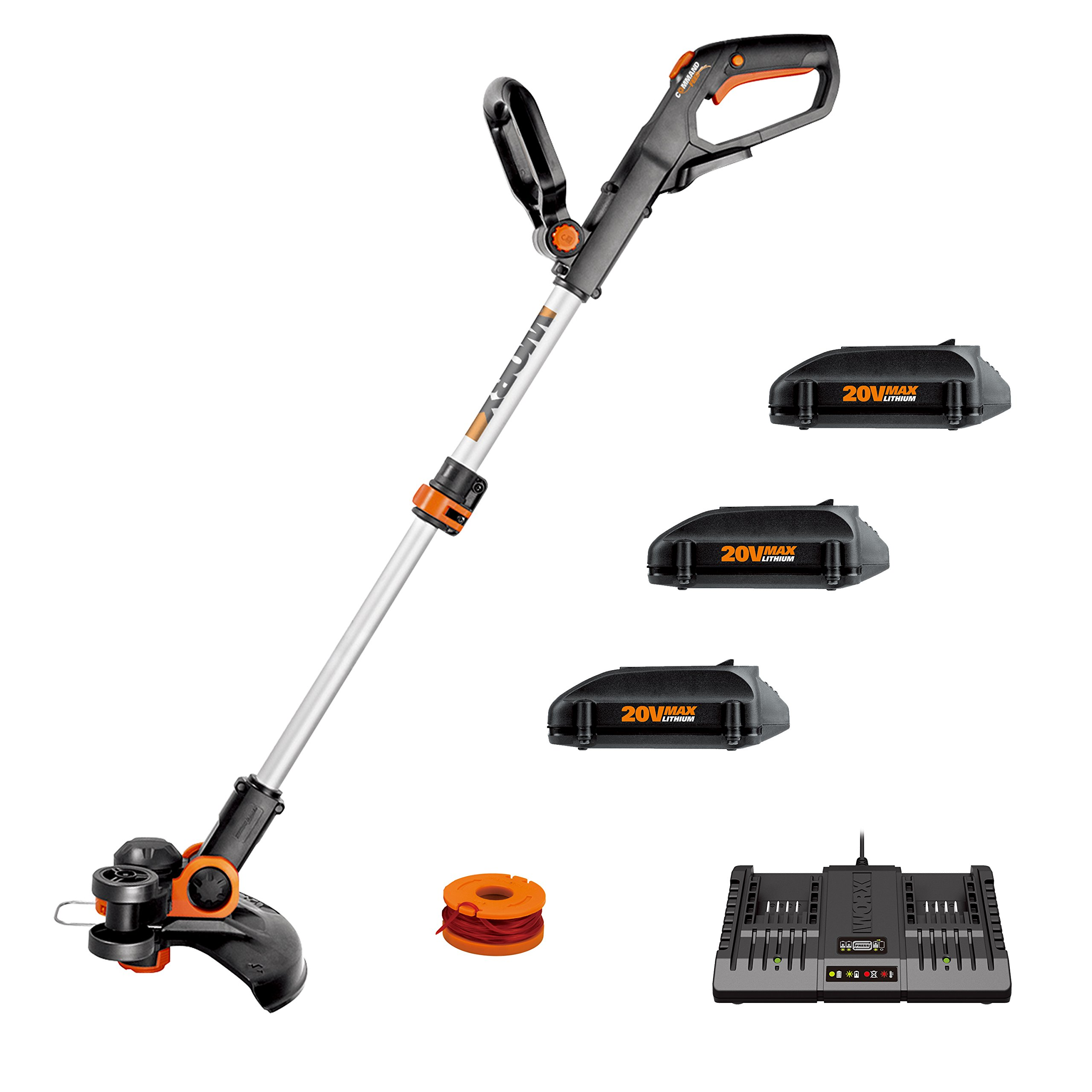 "Worx WG163.4 20V Cordless 12"" Grass Trimmer/Edger with Command Feed; 3 20V Batteries, and 2-hr Dual Charger included"