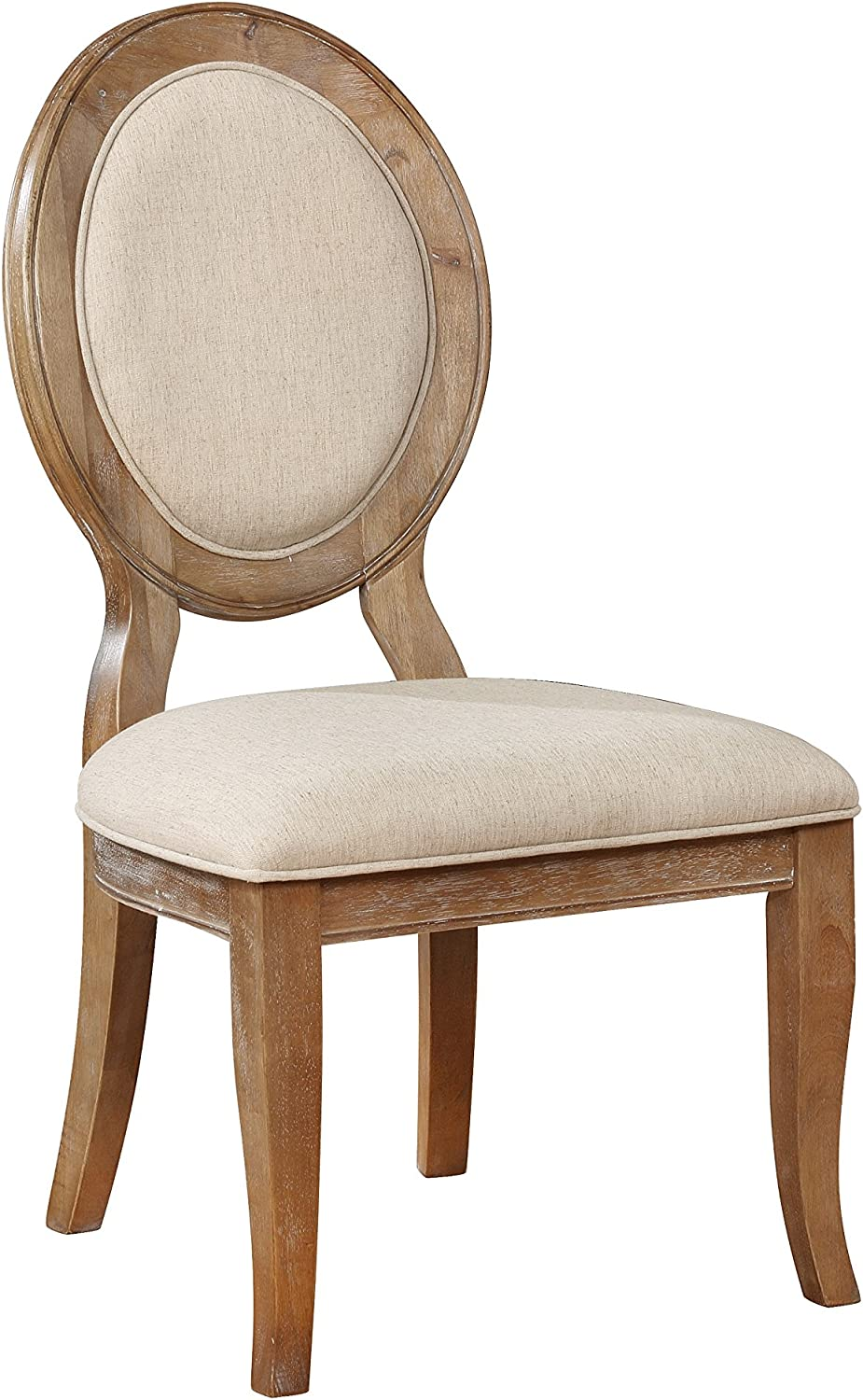 Powell Furniture Lenoir Side Dining Chair, Wire-brushed oak