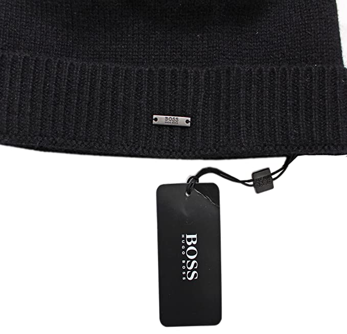 BOSS Hugo FOLD Over Soft Pure Cashmere Beanie HAT  FROLINO  ONE Size Black 5175ddc9d9e5