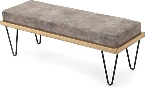 Christopher Knight Home Elisha Industrial Modern Microfiber Bench, Greyish Brown Matte Black