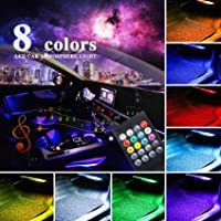LivTee 12V Car LED Strip Light,4pcs 48 LED Multicolor Music Car Interior Lights Under Dash Lighting Waterproof Kit with…