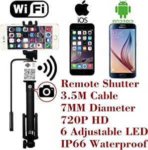 Upgraded Wifi Wireless Endoscope Built-in Remote Shutter Borescope 7mm 2MP 6LED 720P IP66 Tube Waterproof Snake Inspection Camera System, for iphone iOS ipad Samsung Android Smartphone by AttoPro-3.5M
