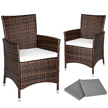 317f96b4dffb TecTake 2 x Poly rattan garden chairs ALUMINIUM FRAME armchair set +  cushions + 2 sets