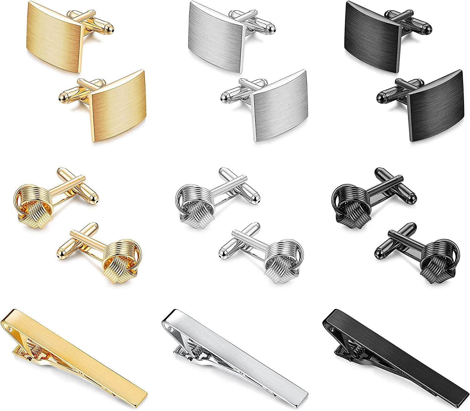 YADOCA Tie Clips Cufflinks Set for Men Tie Bar Clip for Men Black Silver-Tone Gold-Tone for Wedding Business Copper Shirt Button Classic Jewelry