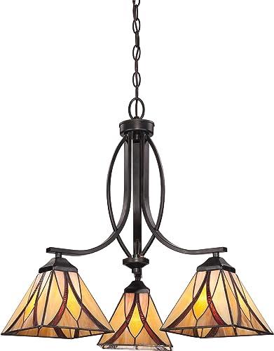 Quoizel TFAS5003VA Asheville Tiffany Downlight Chandelier, 3-Light, 300 Watts, Valiant Bronze 22 H x 23 W