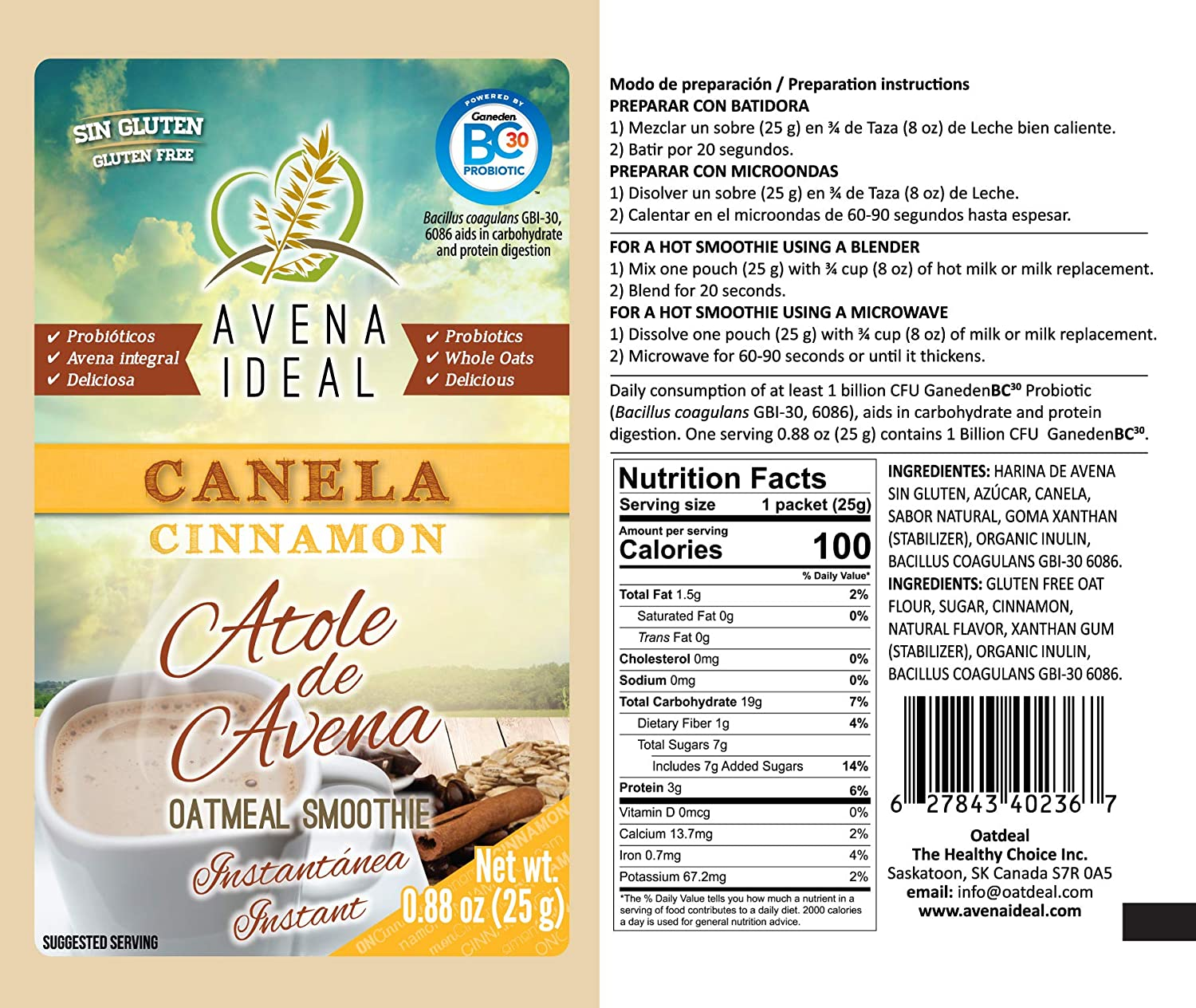 Avena Ideal Oatmeal Smoothie, Gluten Free Oats, Vegan, 12 ...